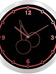 nc0920 Cherries Kitchen Decor Neon Sign LED Wall Clock