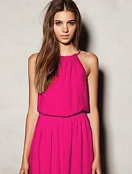 Women's Solid Red/White/Black/Yellow/Purple Dress , Sexy/Beach Halter Sleeveless Pleated