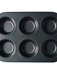 6 Cups Round Shape Muffin Pan, L 26.5cm x W 18.2cm x H 3cm, Non-sticked Coated