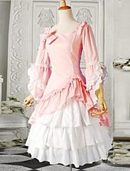 3/4 de las mangas de algodón de color rosa de una sola pieza vestido lolita dulce