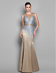 Formal Evening/Prom/Military Ball Dress - Multi-color Plus Sizes Trumpet/Mermaid Jewel Floor-length Lace
