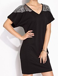 Women's Patchwork Dress , Sexy/Beach/Casual/Party/Work V Neck Short Sleeve Sequins