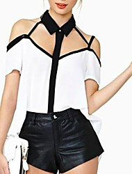 Women's Patchwork White Shirt,Casual Shirt Collar Short Sleeve Backless