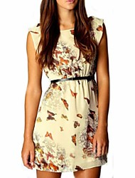 Women's Round Butterfly Print Sleeveles Chiffon Mini Dress