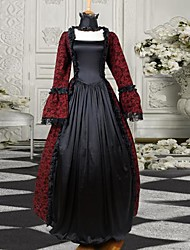 Burgundy and Black Long Sleeves Satin Classic Victorian Dress