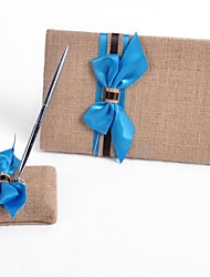 Elegant Linen Blue Ribbon Wedding Guest Book And Pen Set Sign In Book