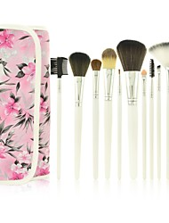 Pro High Quality 12pcs Synthetic&Animal Hair Makeup Brushes Set with Beautiful Flower Painting PU Pouch(4 Color)