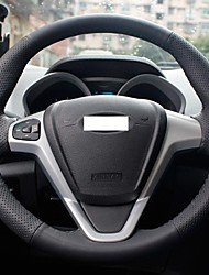XuJi ™ Black Genuine Leather Steering Wheel Cover for Ford Fiesta 2008-2013 New Fiesta Ecosport