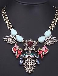 Luxusdamen Farbe Kristall Blume Edelstein Halskette