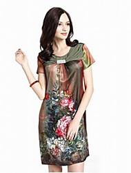 Women's Floral Red/Green/Purple Dress , Sexy/Bodycon/Beach/Casual/Print/Party/Work Round Neck Short Sleeve Ruched
