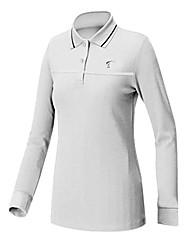 ttygj poliéster das mulheres + spandex manga longa camisa de golfe branco