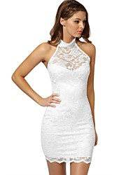 Women's Party/Cocktail Sexy Dress,Solid Above Knee Sleeveless White / Black Nylon All Seasons