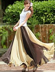 Contraste de la Mujer SSMN color largo de la gasa de la falda