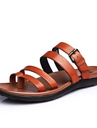 talon plat flip CEEN cuir des hommes flops sandales chaussures chaussures pantoufles