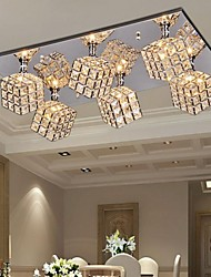 Square Ceiling Light with 6 lights in Crystal