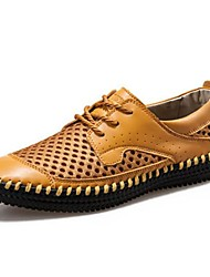 Men's Spring Summer Fall Comfort Novelty Moccasin Leather Office & Career Casual Flat Heel Lace-up Black Brown Khaki