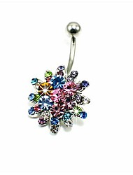 Lureme®316L Surgical Titanium Steel Crystal Colorfulflowers Navel Ring