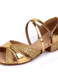 Shoes Show Girl's Leather Arch Strap Chunky Heel Exercise Dance Soft Sole Heel 3CM(Gold)
