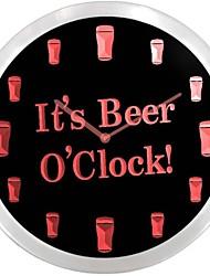 de nc0923 Es Beer O'clock Bar Decor Muestra de neón del LED del reloj de pared