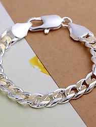 Domineering Men's Golden And Silver Sideways Shimp Buckle Silver Plated Brass ID Bracelet(Silver)(1Pc)