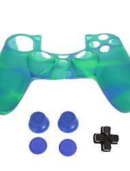 PS4 peau de protection en silicone + D-pad + Rocker Cap + antidérapant silicone bouchon Set