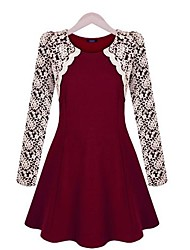 Women's Red/Black Dress , Casual Long Sleeve