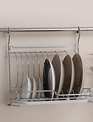 Stainless Steel Dish Rack Kitchen Foldable Storage Trays with 24Inch Hanging Rod And 5 Hooks