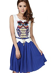 ORG das Mulheres Versão Coreana Chiffon Coruja mangas padrão de vestido