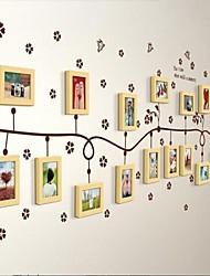 Natural Color Photo Frame Set di 17 con Wall Sticker