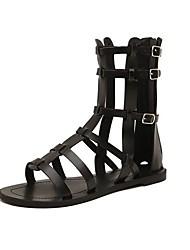 Talon plat de femmes Spartiates avec chaussures de boucle