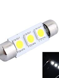 39mm 0,6 W 50LM 6000K 3x5050 SMD weiße LED für Auto Lesen / Kfz-Kennzeichen / Türleuchte (DC12V, 1Stk)