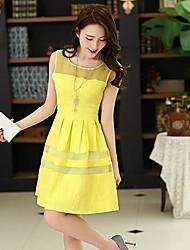 Women's Dress,Solid Mini Sleeveless Red / Black / Yellow Spring / Summer