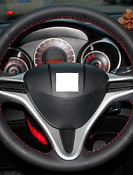 XuJi ™ Black Genuine Leather Steering Wheel Cover for Honda Fit City 2008-2013