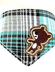 Симпатичные Холст Мишка Pattern Натуральная кожа Бандана Воротник для Собаки