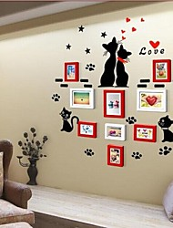 2 colori Photo Frame Collection Set di 9 con Wall Sticker