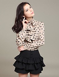 Women's Casual/Daily Simple All Seasons Blouse,Polka Dot Long Sleeve Red / Beige / Black Polyester Thin