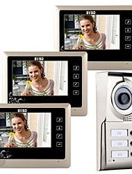 "7 ""lcd touch screen video portatile telefono porta campanello citofono ingresso per 3 famiglie"