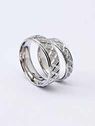 Korean Style Fashion X Pattern Titanium Steel Couple Rings