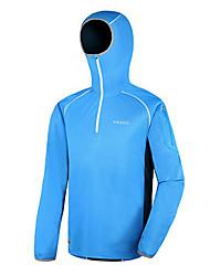 AMADIS azul + blanco de poliéster de manga corta Anti-UV Pesca con capucha