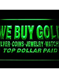 i1002 We Buy Gold Silver Coins Jewelry Watches Top Dollar Paid Neon Light Sign