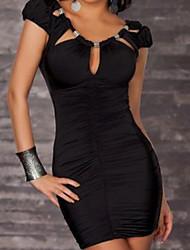 De las mujeres Vestido Sexy Mini Algodón