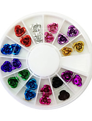 24PCS Tonerde Rose Design Nagel-Kunst-Dekorationen