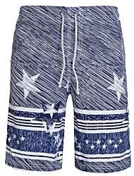 Hommes Ample Joggings Short Pantalon,simple Bohème Actif Décontracté / Quotidien Plage Sportif Rayé Imprimé Taille NormaleCordon