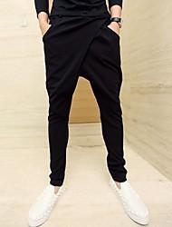 mezcla de los pantalones de algodón negro, pantalones de chándal de los hombres
