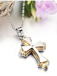 High Quality  Golden Titanium Cool Fashion Classic Double Cross Man Necklace