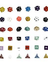 Dungeons and Dragons Game 15-20MM D4 D6 D8 D10 D12 D20 Dice Color Random (6pcs/Set)