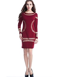 Women's Work Sheath Dress,Print Round Neck Midi Long Sleeve Blue / Red / White / Black All Seasons