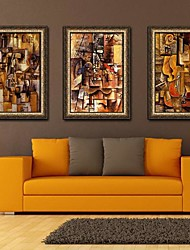 Abstract Musical Art Framed Canvas Print Set of  3