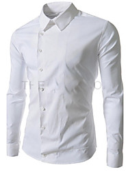 Men's Lapel Neck Solid Color Sheath Shirt