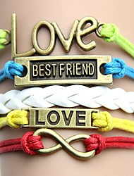 Vintage and Colorful with Letters Love Best Friend Handmade Woven Bracelet